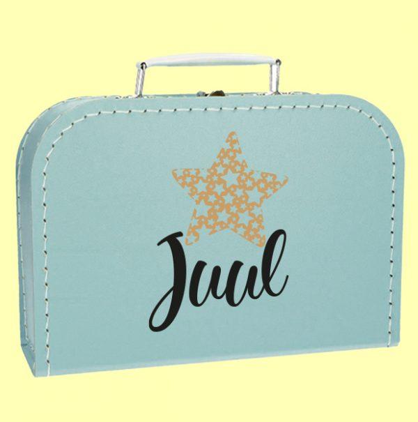 Kinderkoffertje blauw naam ster