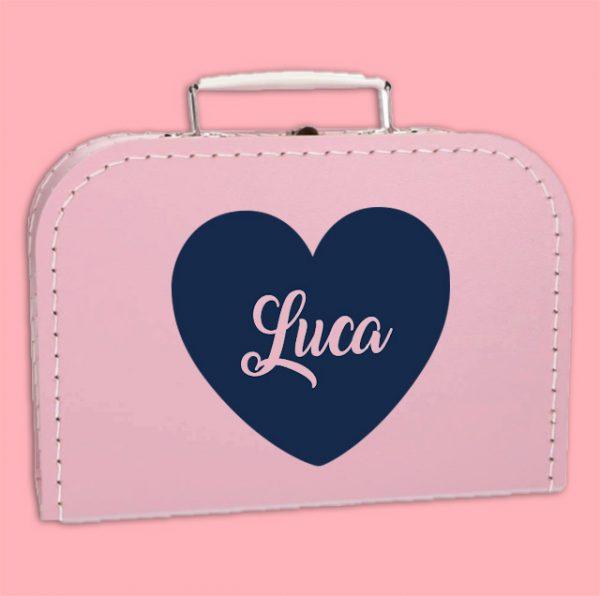 Kinderkoffertje blauw hart met naam