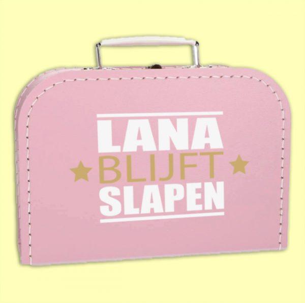 Kinderkoffertje met naam Blijft slapen