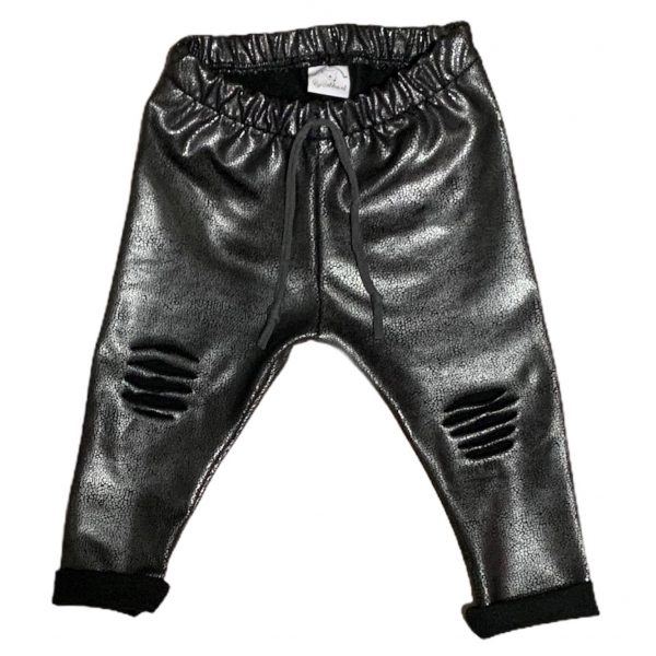 Ripped leatherlook broekje