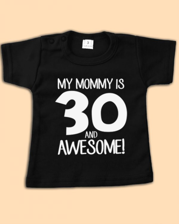 Zwart babyshirt 30 and Awesome