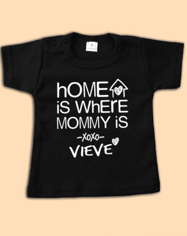 Zwart babyshirt Home is... met naam