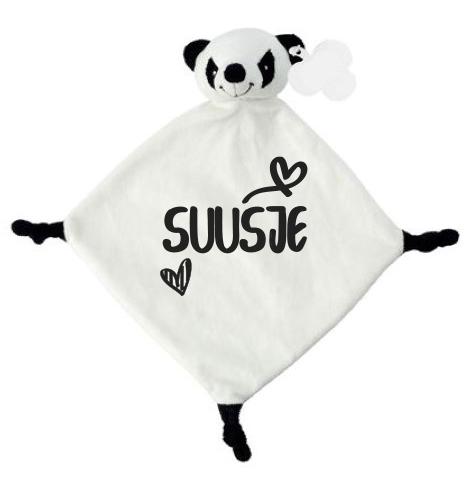 Tutdoek panda hartjes